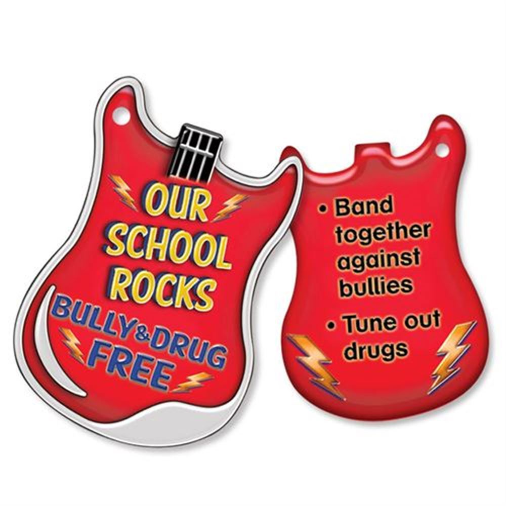 "Our School Rocks Bully & Drug Free Laminated Tag With 4"" Chain - Pack of 25"