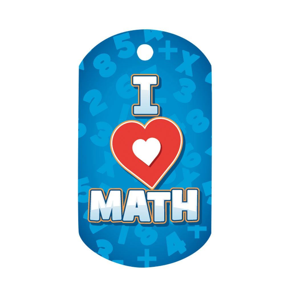 "I Love Math Laminated Tag With 4"" Chain"