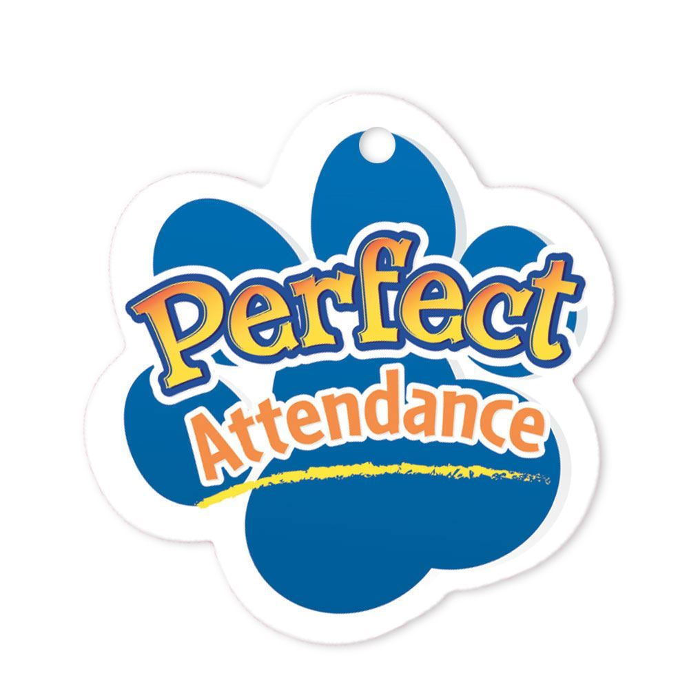 """Perfect Attendance Paw Laminated Tag With 24"""" Chain"""