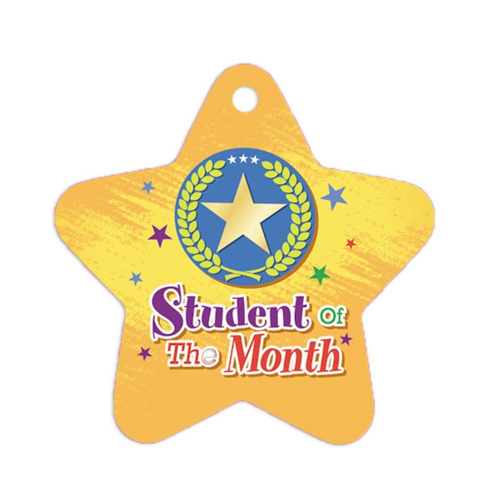 """Student Of The Month Star Laminated Award Tags With 4"""" Chains - Pack of 25"""