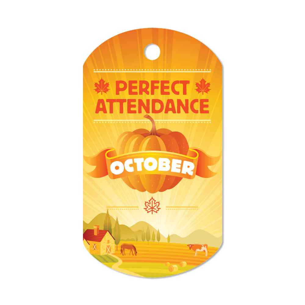 """Perfect Attendance October Tags With 24"""" Chains - Pack of 25"""