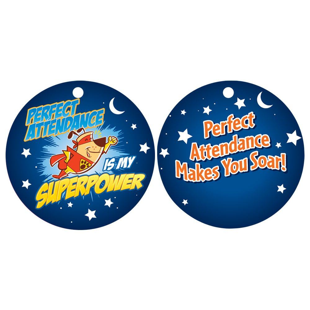 """Perfect Attendance Is My Superpower Laminated Tags With 4"""" Chains - Pack of 25"""
