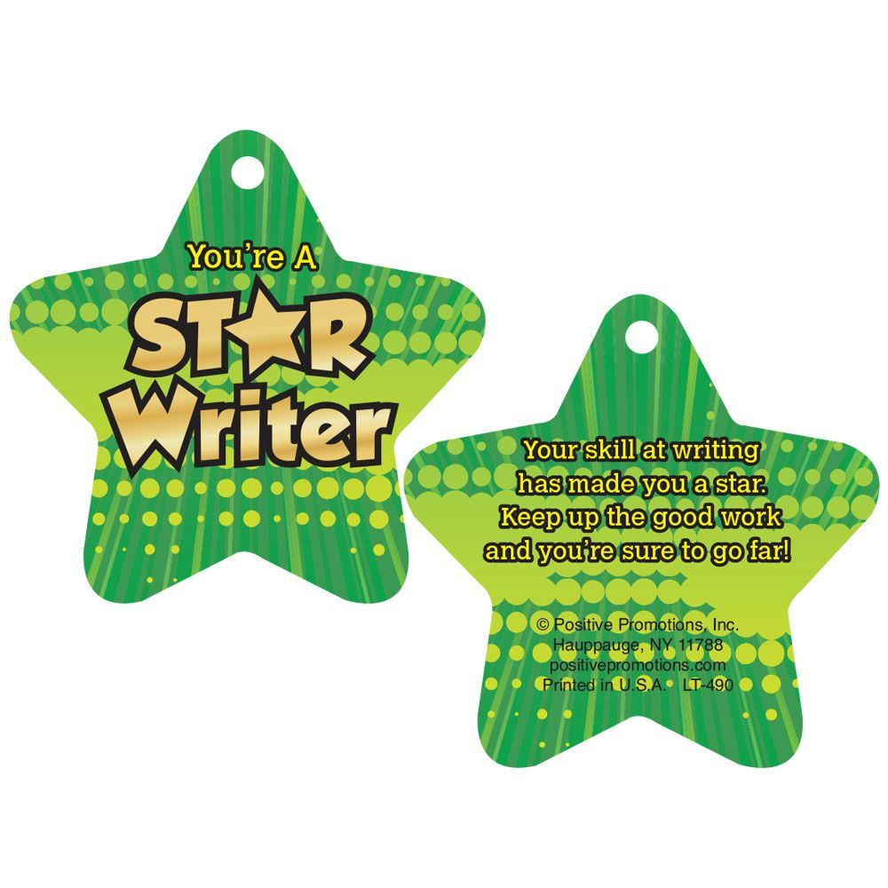"""You're A Star Writer Laminated Tags With 4"""" Chains - Pack of 25"""