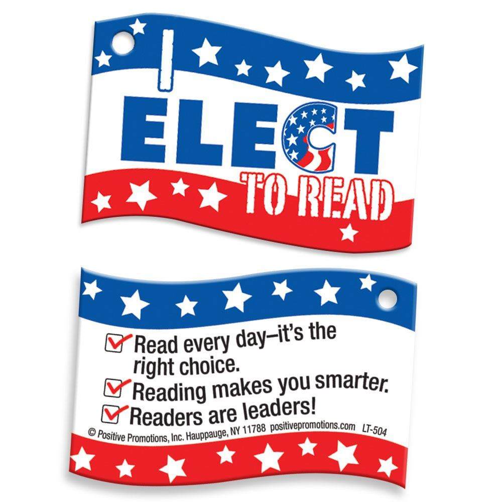 "I Elect To Read! Laminated Tag With 4"" Chain"