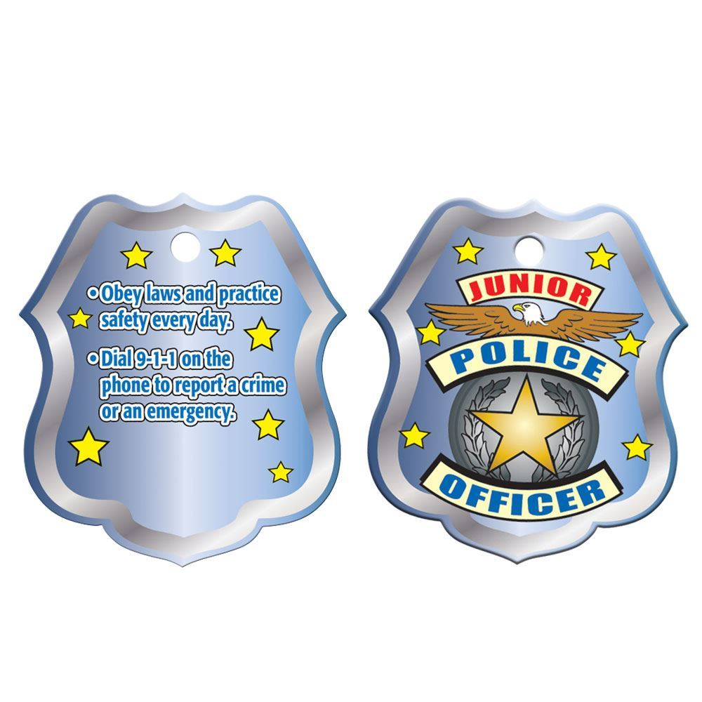 """Junior Police Officer Shield Laminated Tag With 4"""" Chain"""