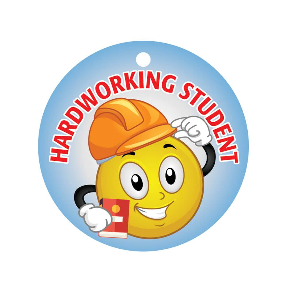 Hardworking Student Laminated Award Tag With 24