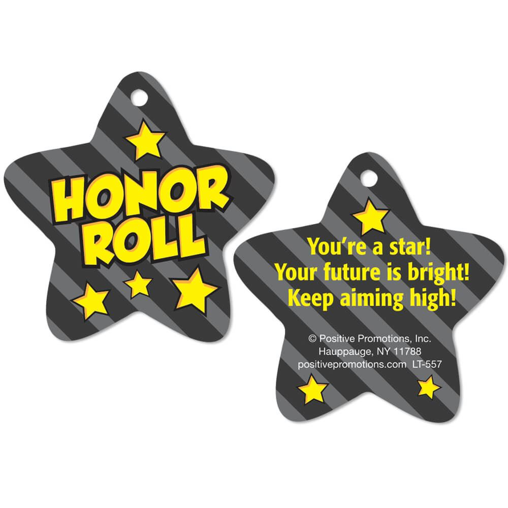 Honor Roll (Star) Laminated Award Tags With 4