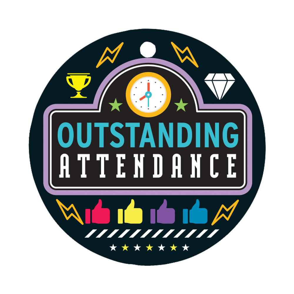 Outstanding Attendance Laminated Award Tag With 4