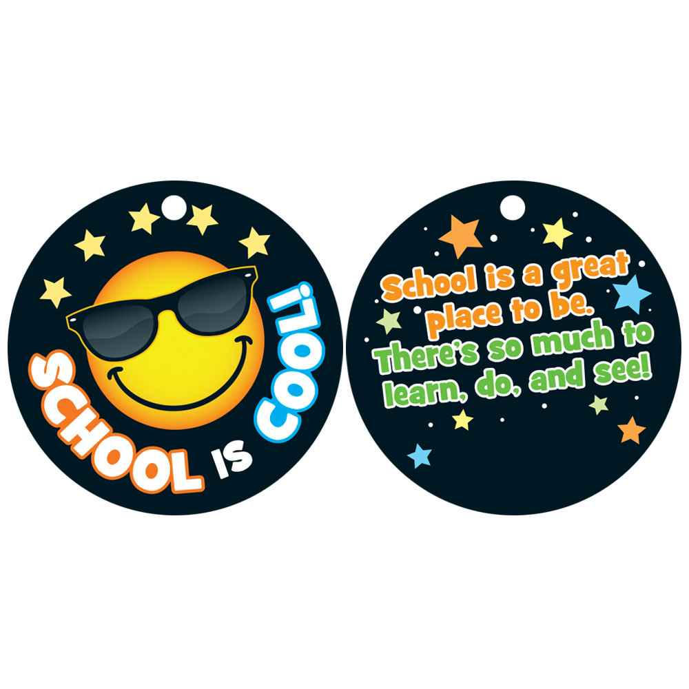 School Is Cool! Emoji Laminated Award Tag With 4