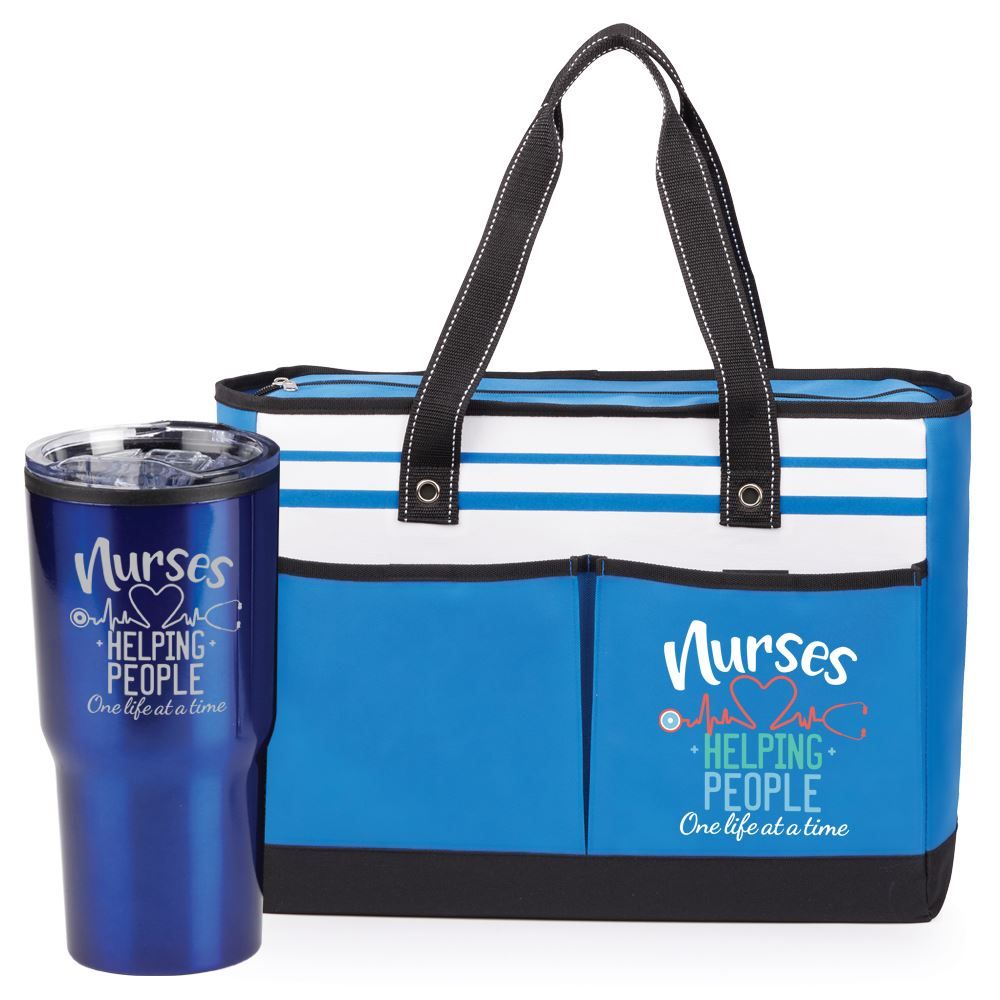 Nurses: Helping People One Life At A Time Ashland Tote & Sierra Tumbler Blue Gift Set