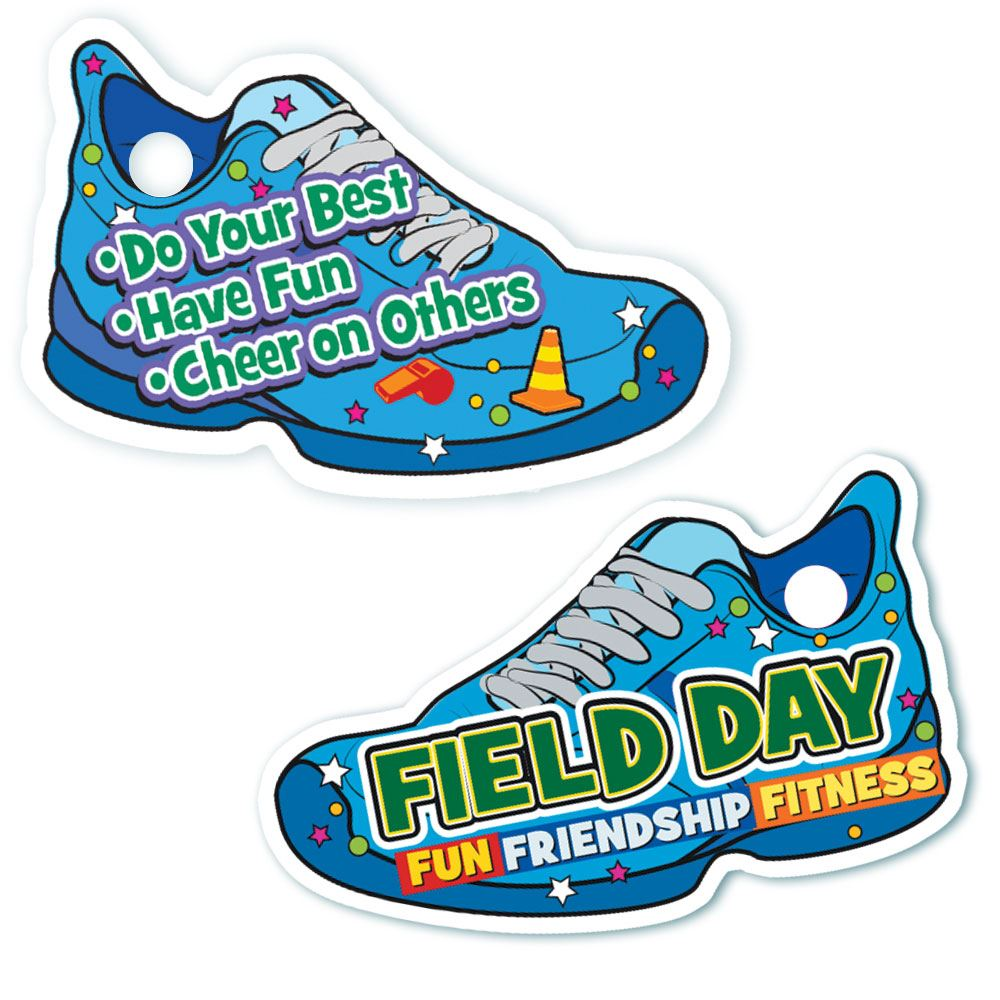 Field Day Fun, Friendship, Fitness Sneaker Tags With 4