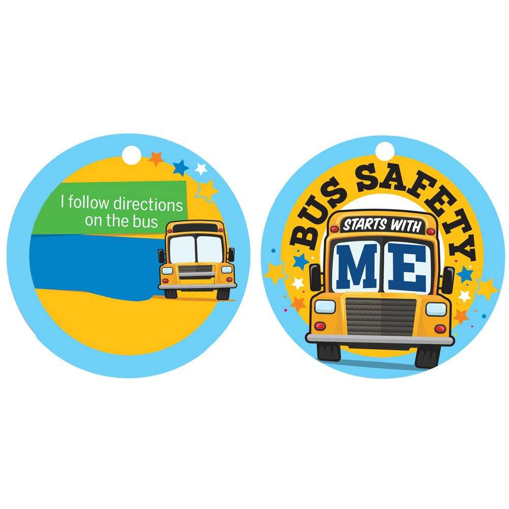 Bus Safety Starts With Me Tag With Chain