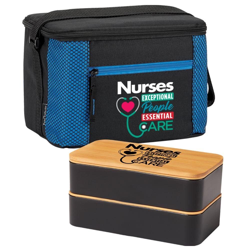 Nurses Blue Atlantic Lunch/Cooler Bag & 2-Tier Bento Box Gift Set