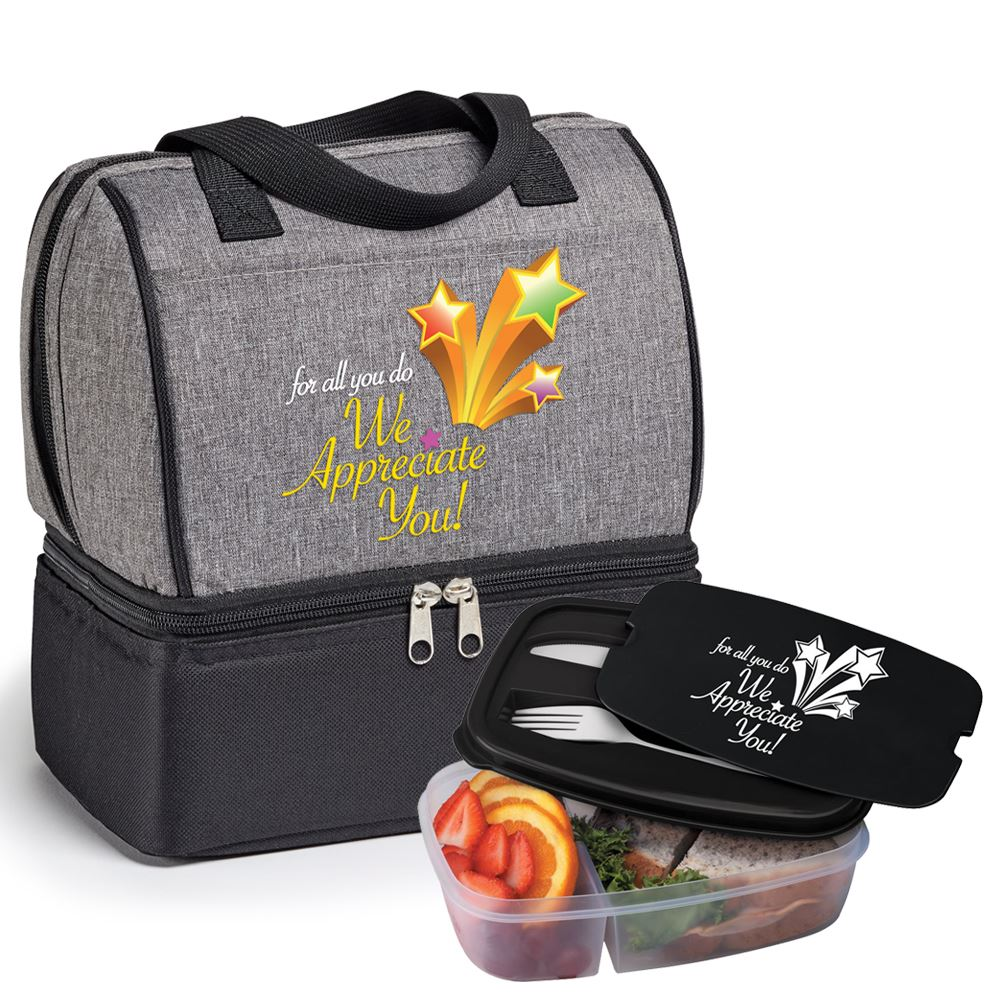 For All You Do We Appreciate You! Bellmore Cooler Lunch Bag & 2-Section Food Container With Utensils Gift Set