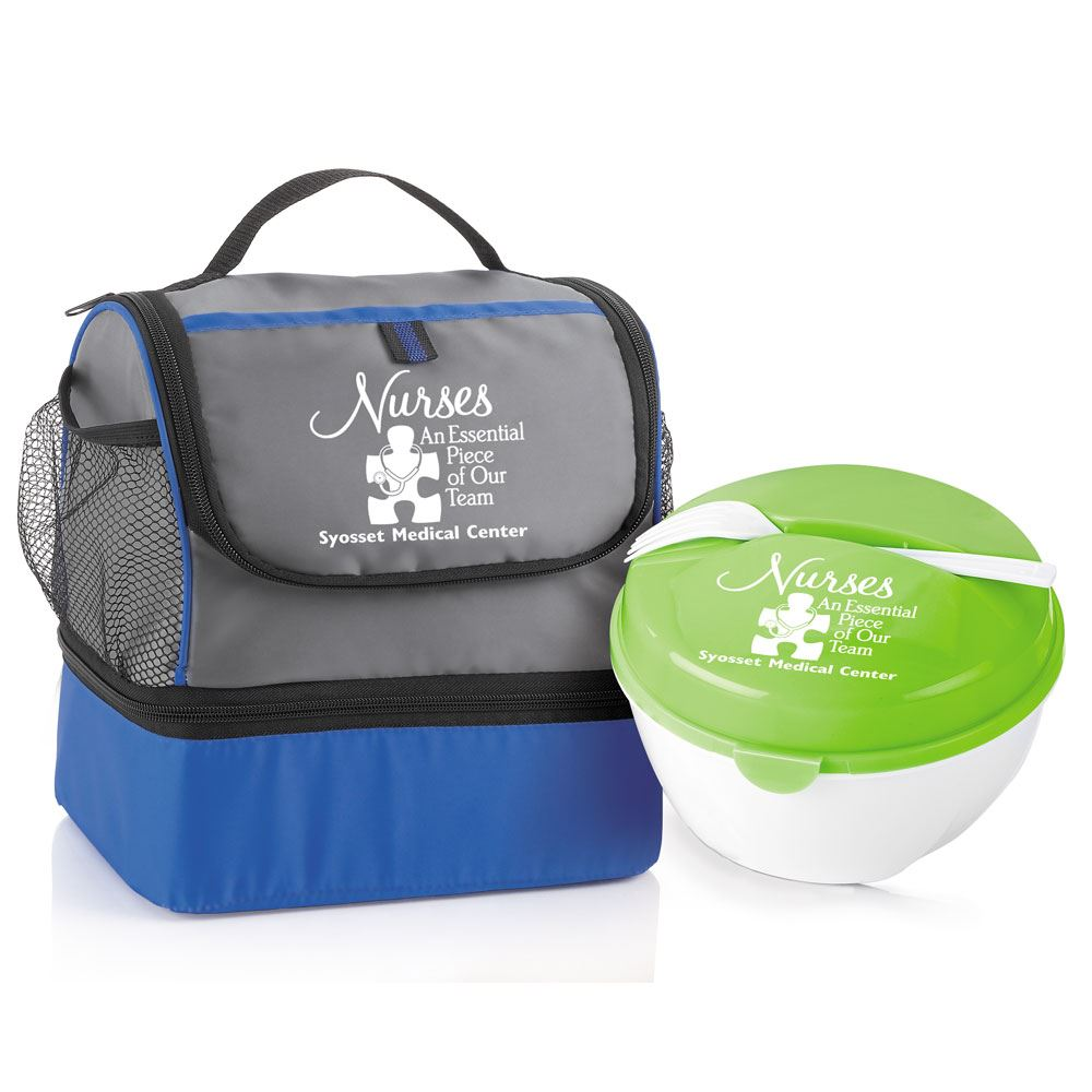 Bayport Dual Compartment Lunch Bag & Round Food Container Gift Set - Customization Available