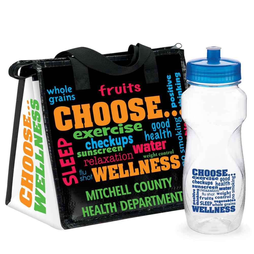 Choose Wellness Insulated Lunch Bag & Water Bottle Gift Combo - Personalization Available