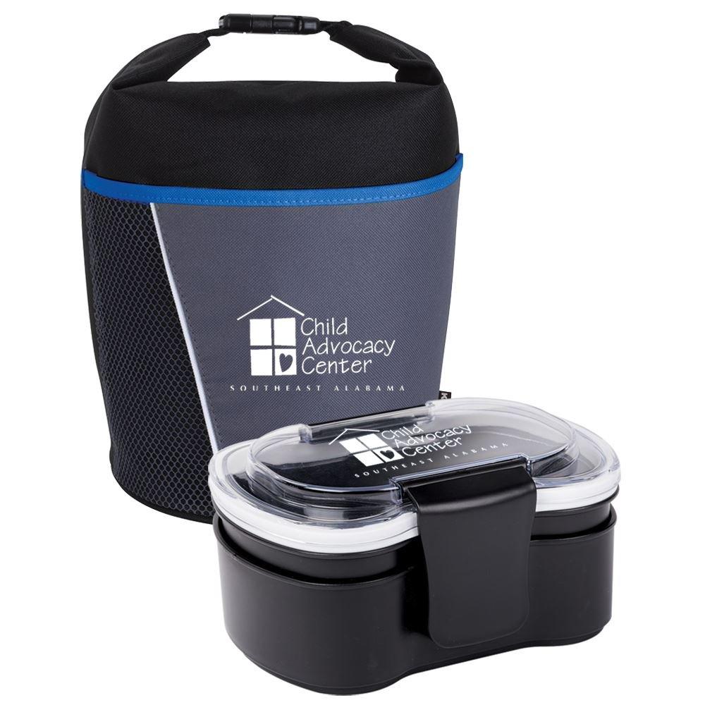 Blue/Black Bellmore Cooler Lunch Bag & 2-Tier Locking Food Container Gift Set