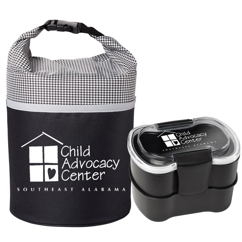 Houndstooth/Black Bellmore Cooler Lunch Bag & 2-Tier Locking Food Container Gift Set