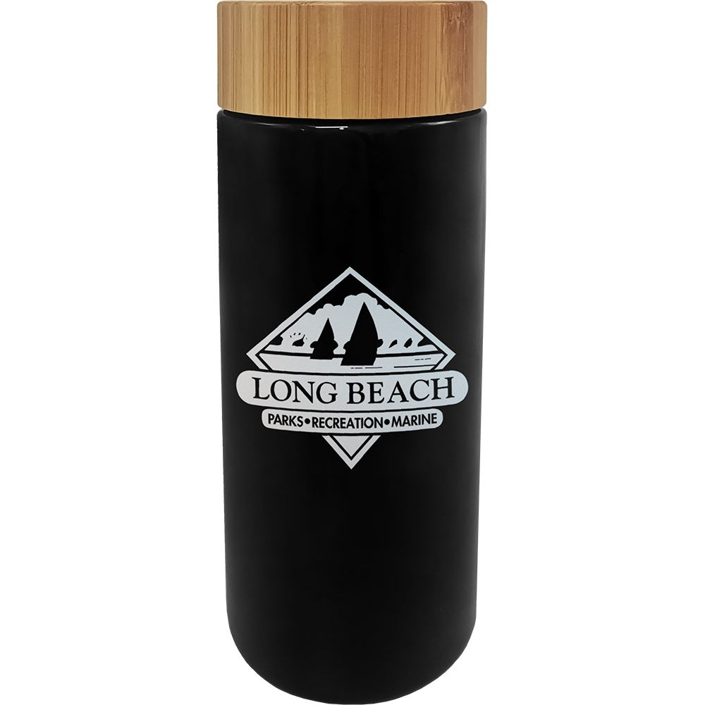 Double Wall Ceramic Mug with Bamboo Lid - 10 Oz. - Laser Engraved