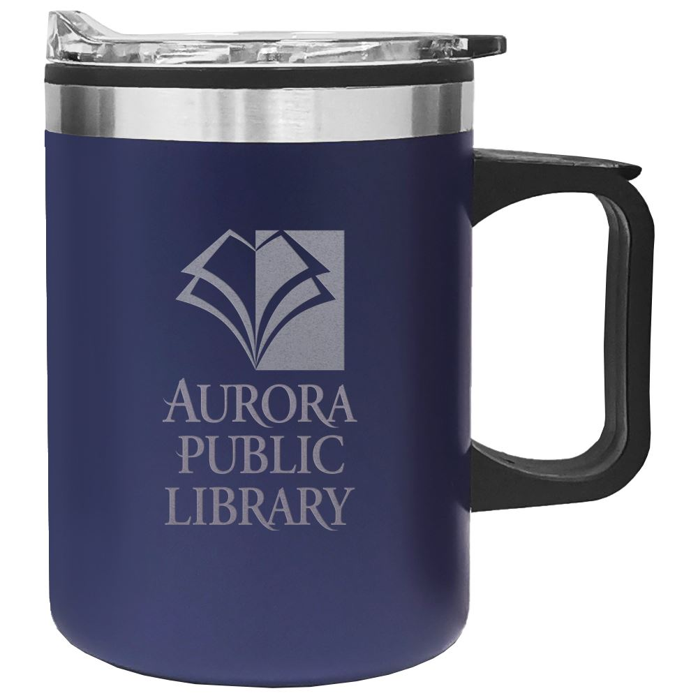 Double Wall Camping Mug with Handle - 14 Oz. - Laser Engraved