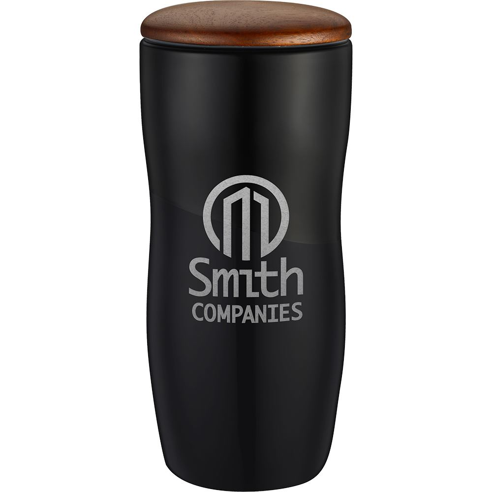 Double Wall Ceramic Tumbler with Wood Lid 12 Oz.- Laser Engraved  Personalization Available