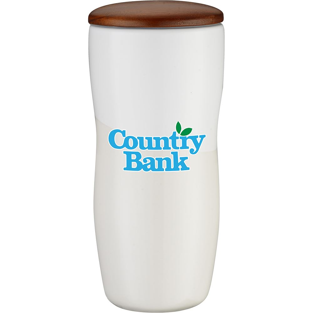 Double Wall Ceramic Tumbler with Wood Lid - 12 oz. Full Color     Personalization Available