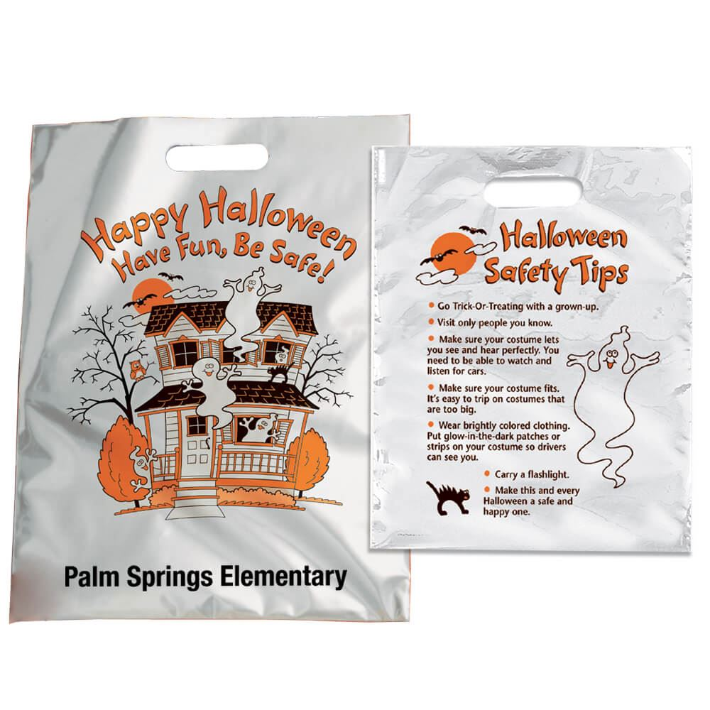 Happy Halloween: Have Fun, Be Safe! Reflective Trick-Or-Treat Bag - Personalization Available