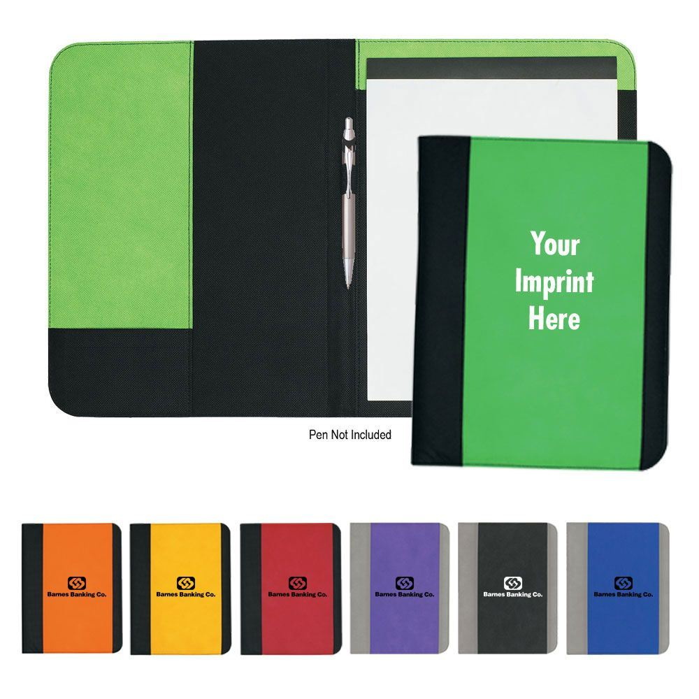 Non Woven Large Portfolio With Water-Resistant Polypropylene Cover - Personalization Available
