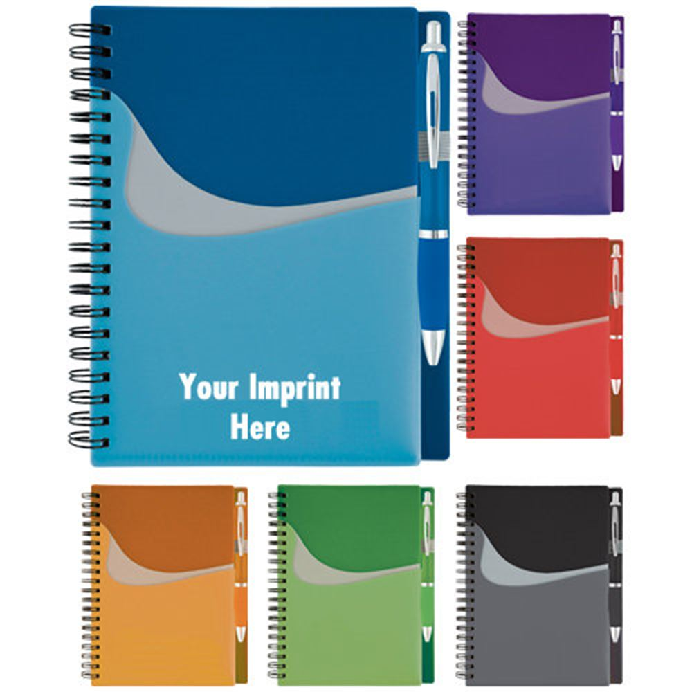 Wave Pocket Buddy Notebook & Pen - Personalization Available