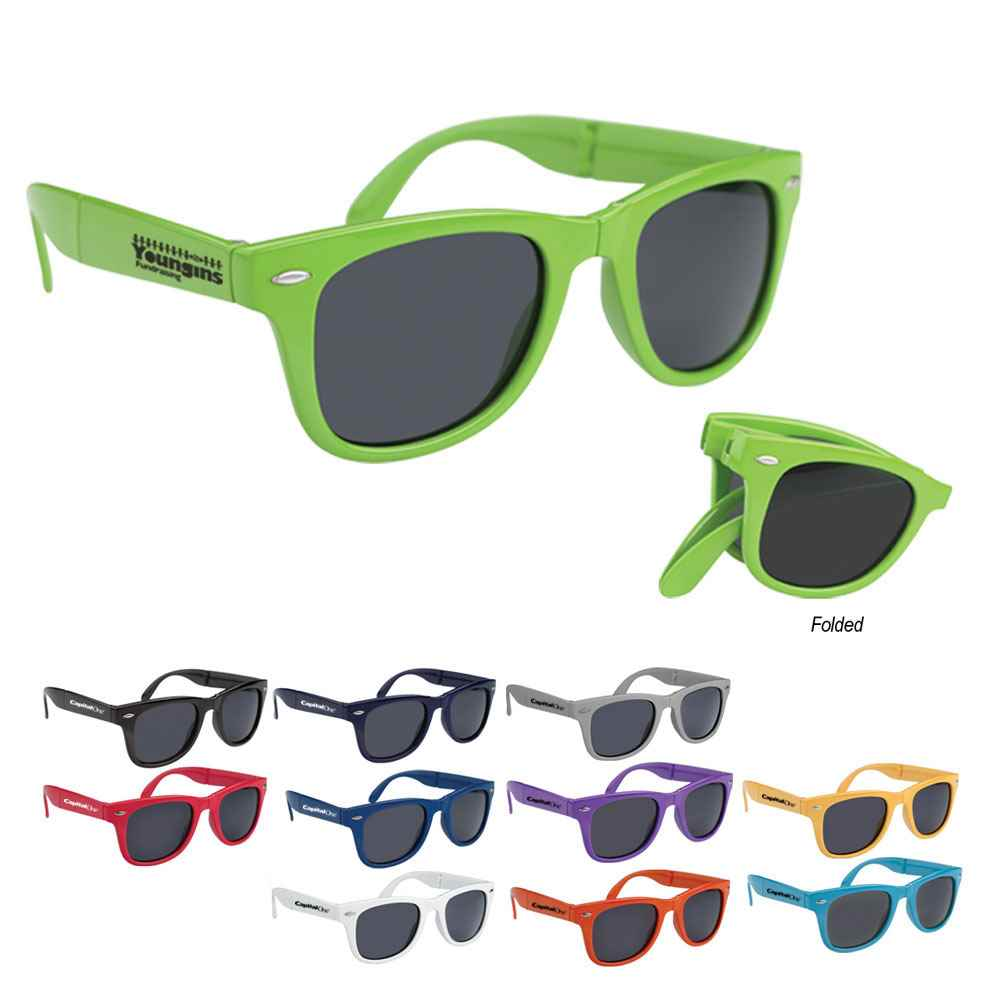 Eco-Friendly Wave Rubberized Sunglasses - Personalization Available