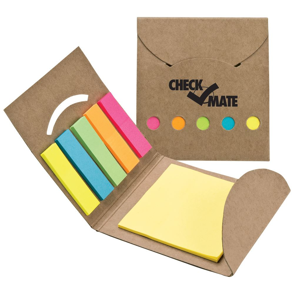 Recycled Note Pad & Sticky Flag Set - Personalization Available
