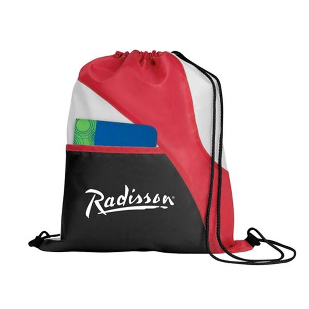 Tri-Color Drawcord Sports Backpack With Front Pocket - Personalization Available