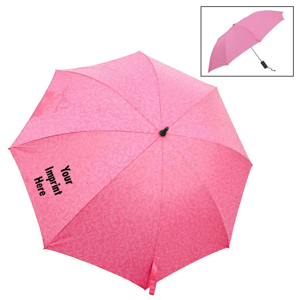 "43"" Auto Open Umbrella With Pink Ribbon Patterns - Personalization Available"