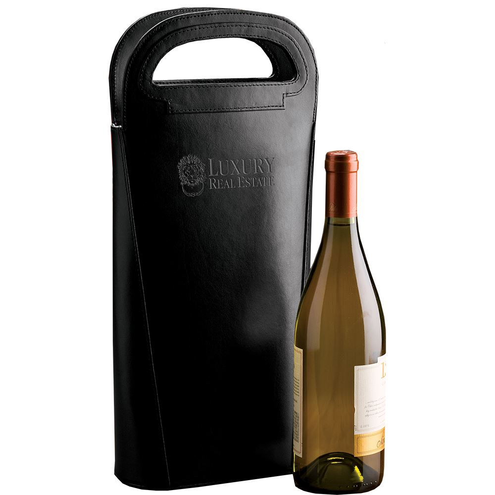 Double Bottle Leather Wine Carrier - Personalization Available