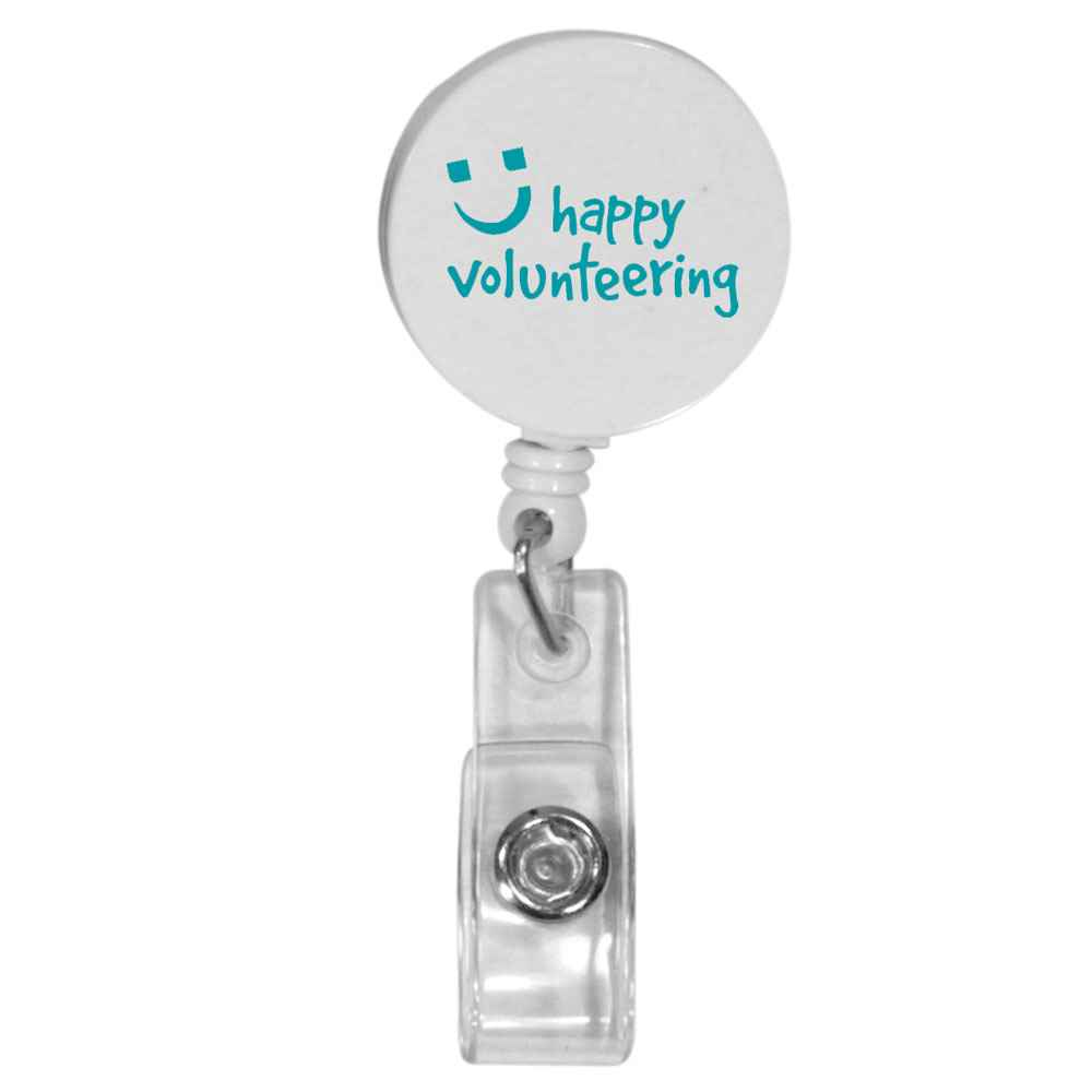 Retractable Round Badge Holder with Alligator Clip - One-Color Personalization Available