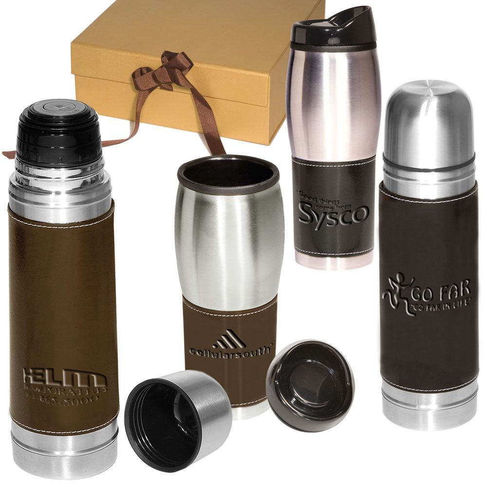 Leather-Wrapped Thermos 16.9-oz. / Tumbler 16-oz. Set - Personalization Available