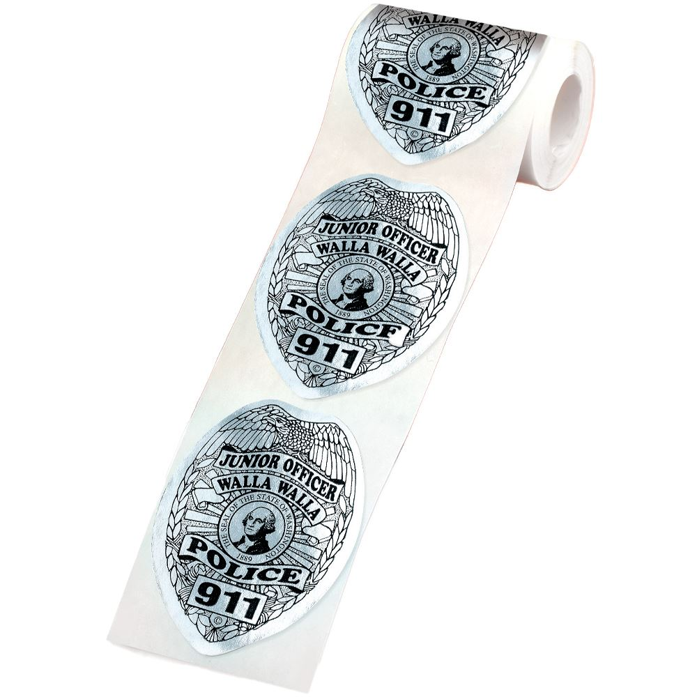Custom Silver Shield Stickers On-A-Roll - Personalization Available