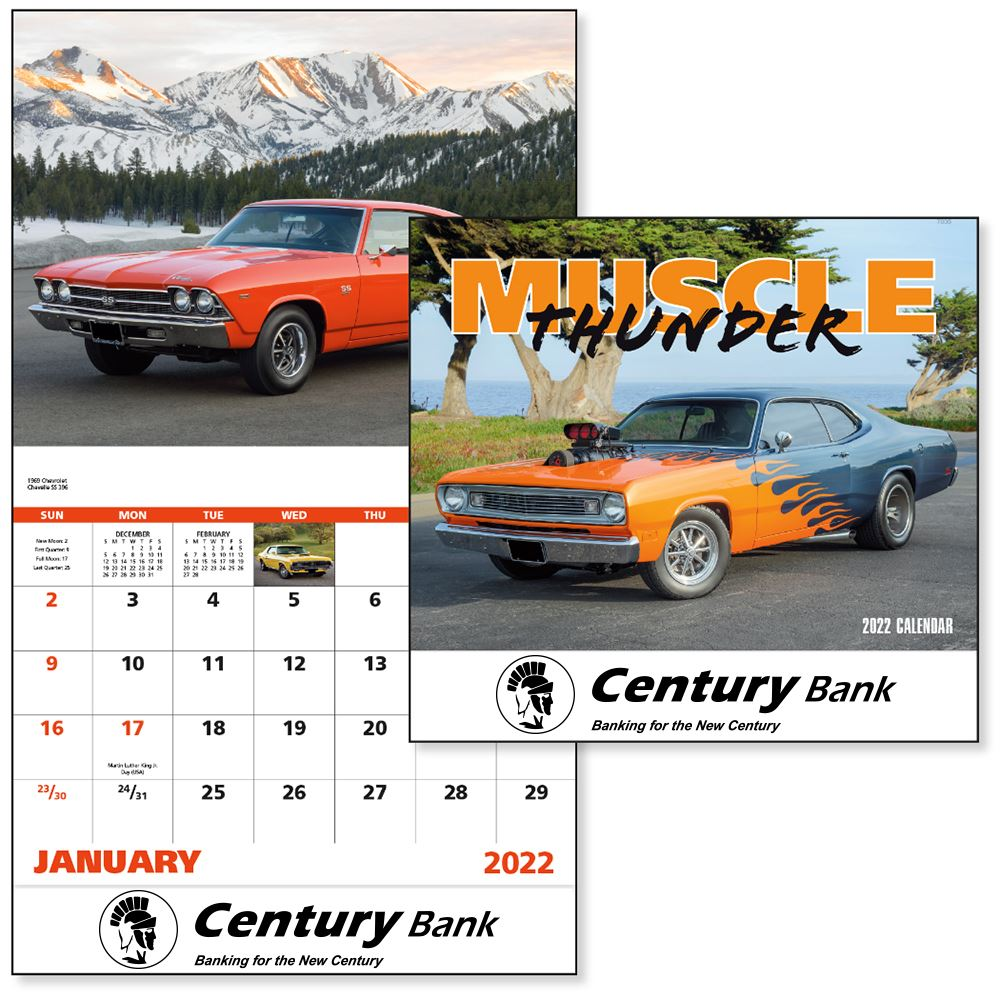 2022 Muscle Thunder Wall Calendar - Stapled - Personalization Available