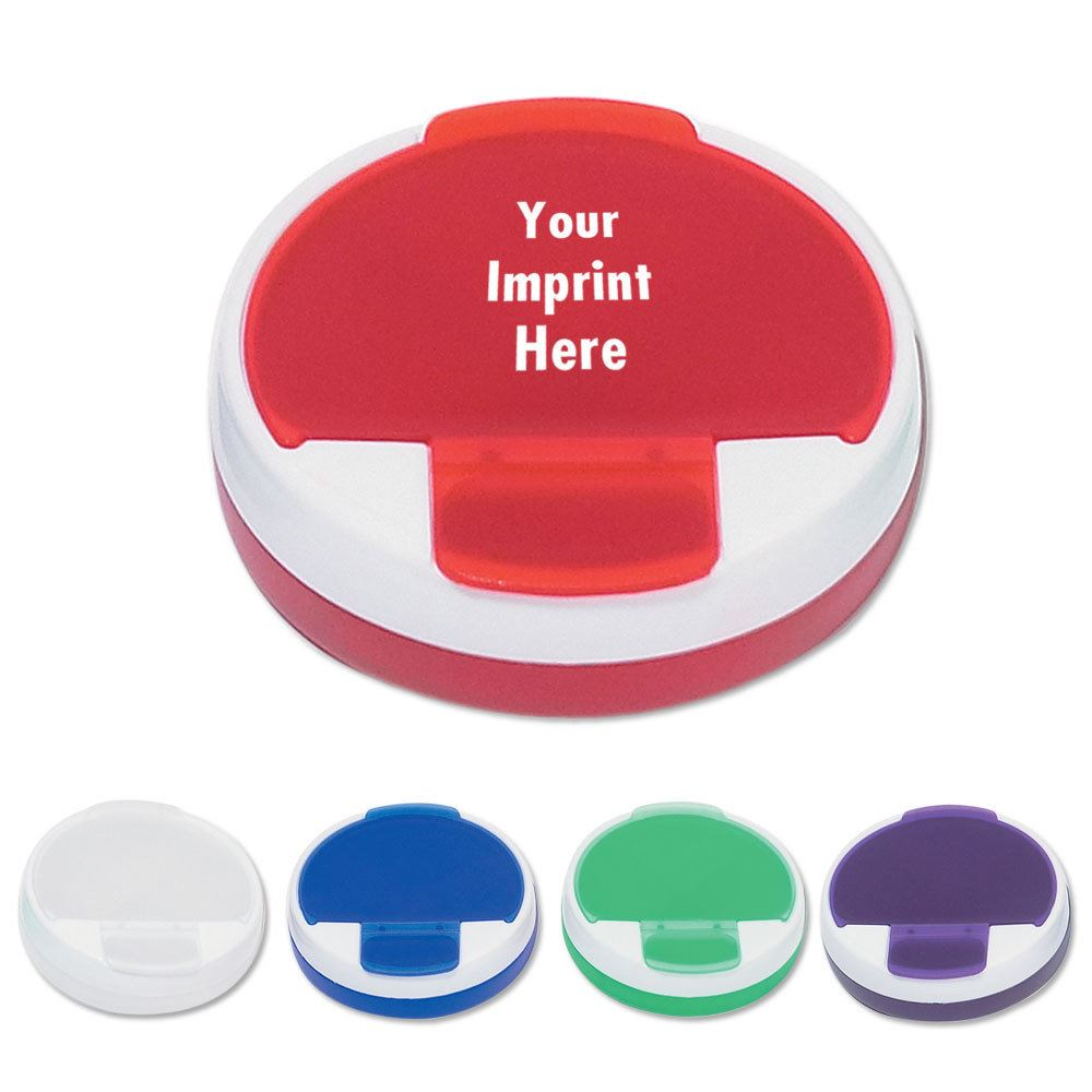 Round Pill Holder With Rotating Top - Personalization Available