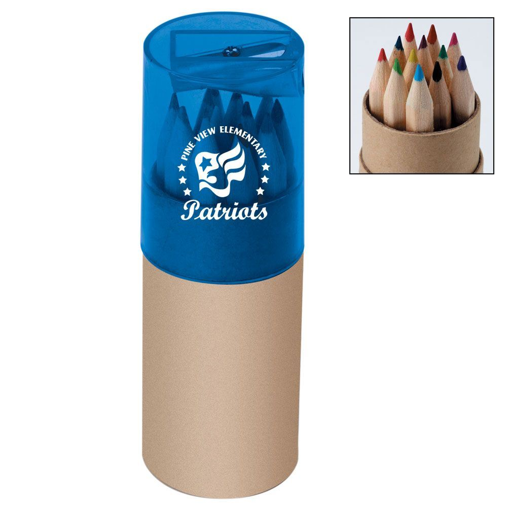 12 Pre-Sharpened Colored Pencils Set In Tube With Sharpener - Personalization Available