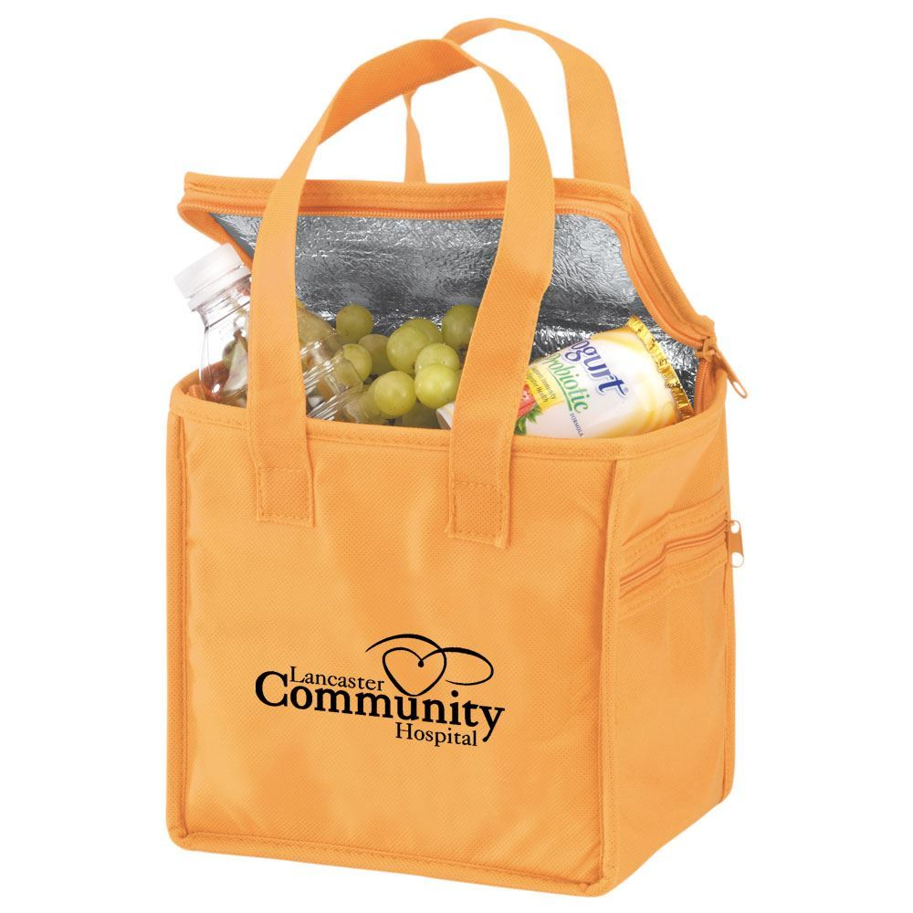 Non-Woven Polypropylene Lunch Tote With Clear ID Holder Pockets  - Personalization Available