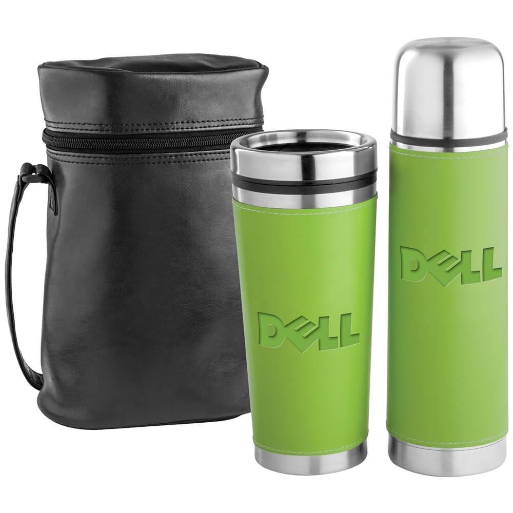 Leatherette Tumbler/Vacuum Bottle Set - Personalization Available