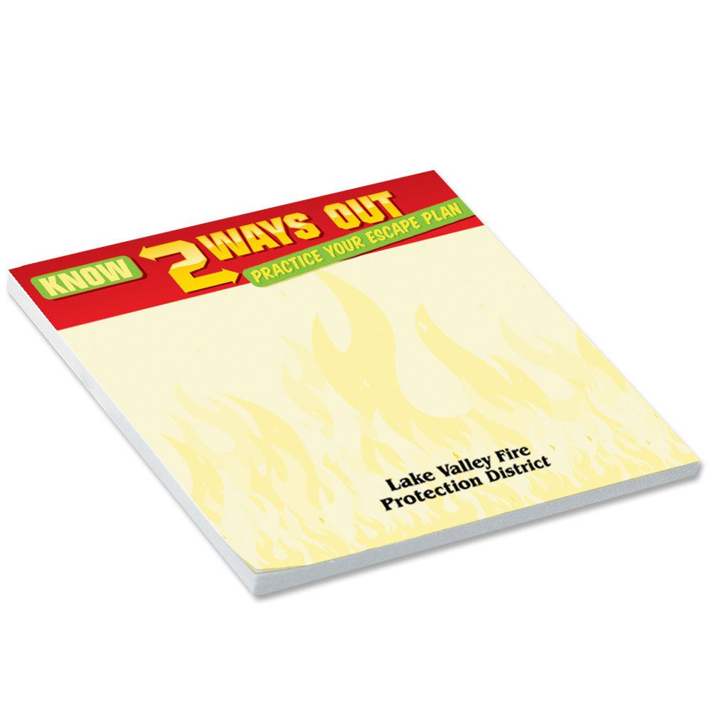 BIC® Sticky Notepad (Know 2 Ways Out Practice Your Escape Plan) - Personalization Available
