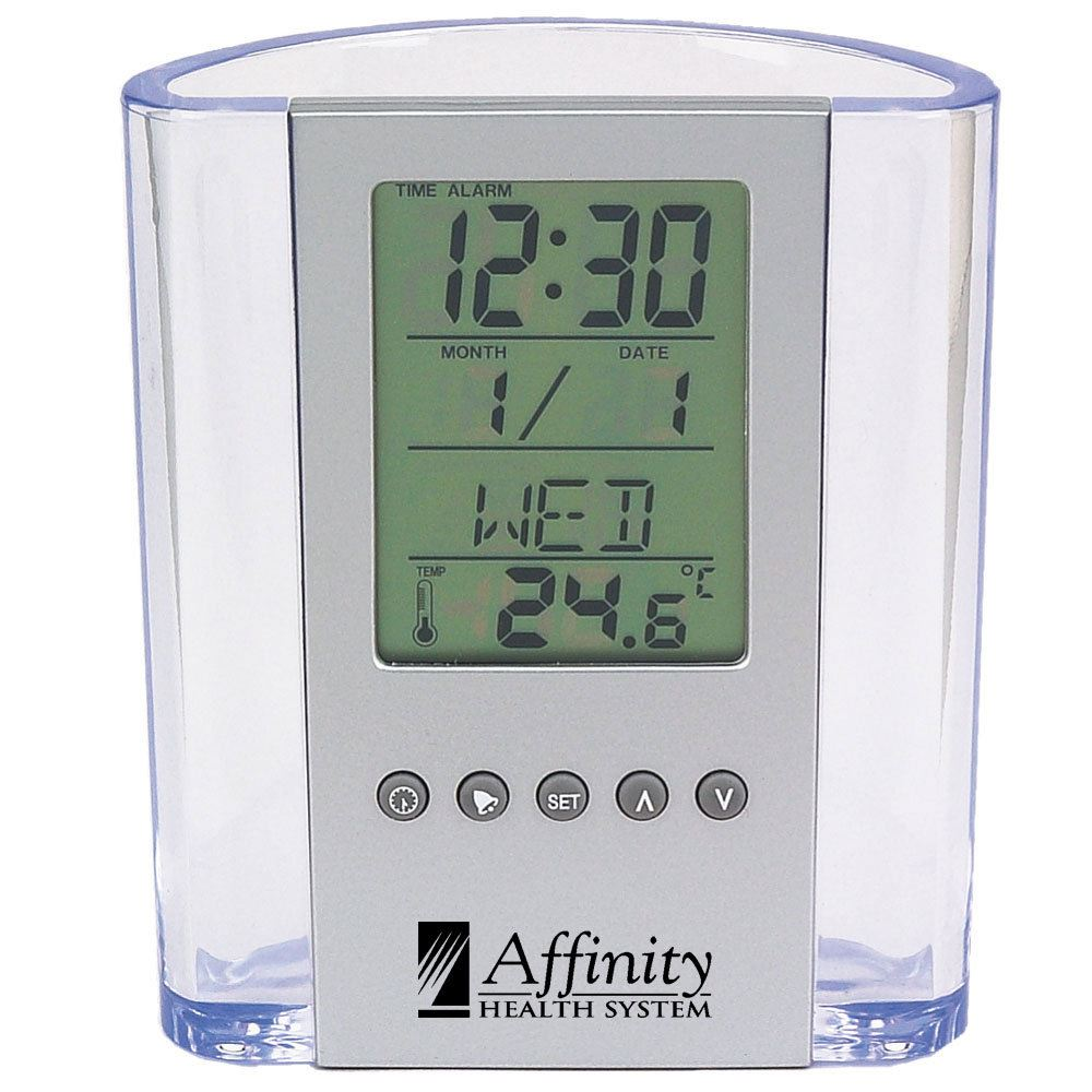 Pin By Gagan Sampla On Clocks: Clear Pen Cup With Digital Alarm Clock & Thermometer