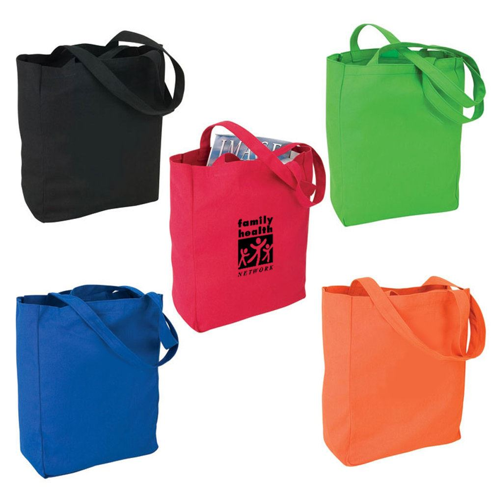 Colored Canvas Tote Bag - Personalization Available