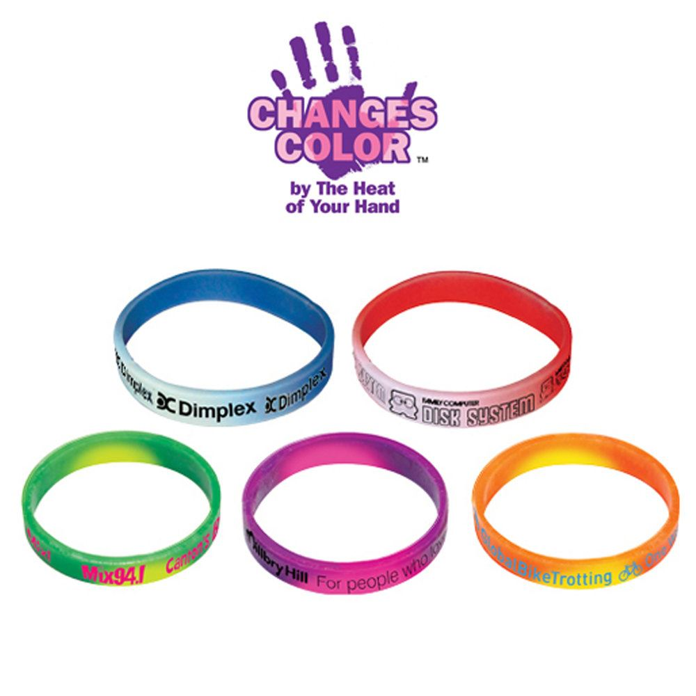 Heat-Sensitive Mood Bracelets - Full Wrap Imprint - Personalization Available