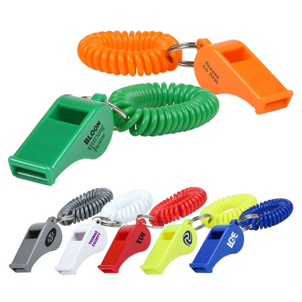 Whistle Key Chain With Coil - Personalization Available