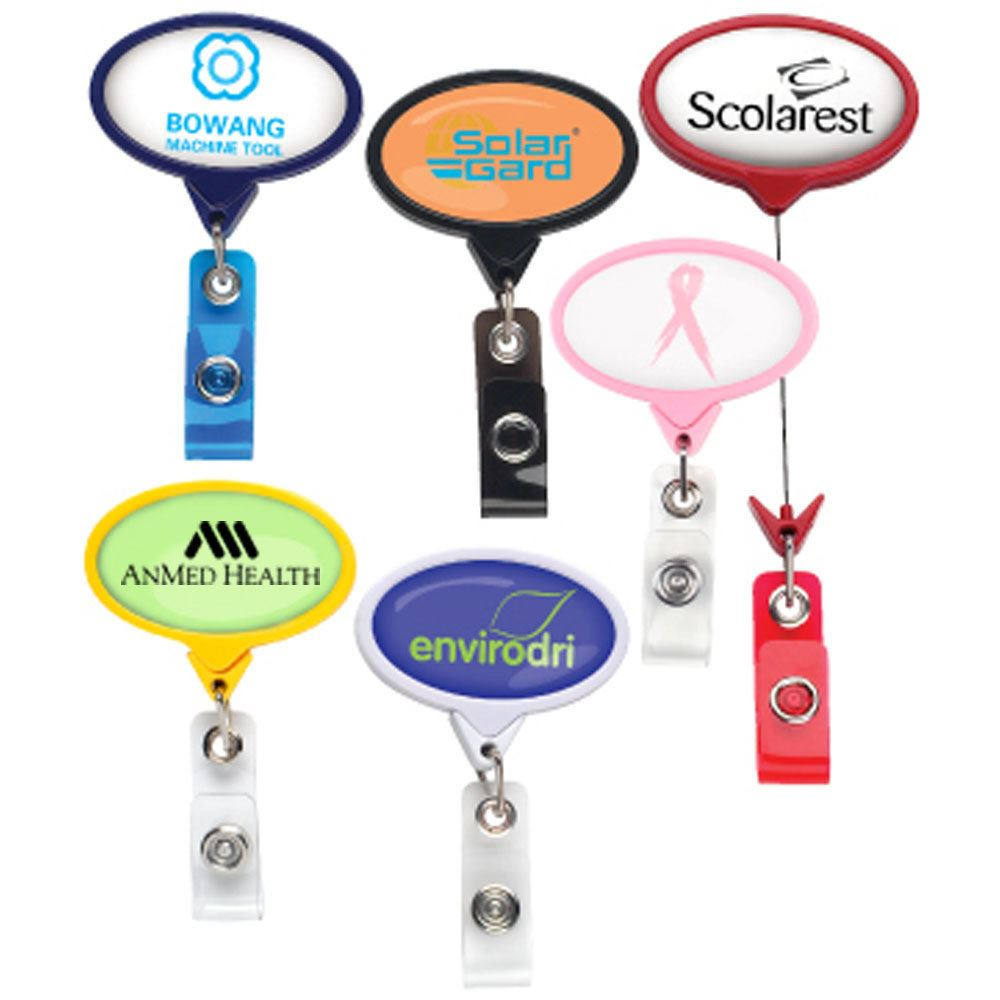 Jumbo Oval Retractable Badge Holder - Personalization Available