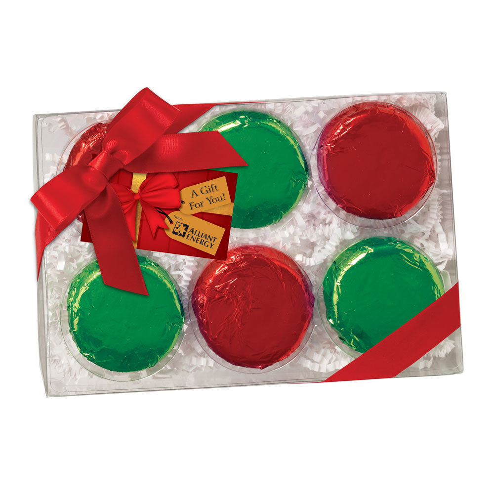 Elegant Chocolate-Covered Oreos® Wrapped In Holiday Foil And Gift Boxed - Full Color Hangtag - Personalization Available