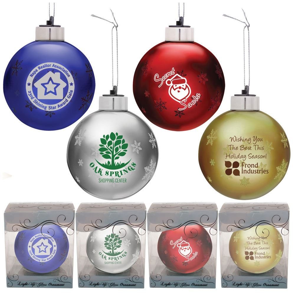 Light-Up Glass Holiday Ornament - Personalization Available